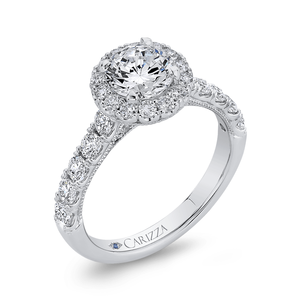 Round Halo Diamond Engament Ring In 14K White Gold (Semi Mount) Engagement Ring CARIZZA
