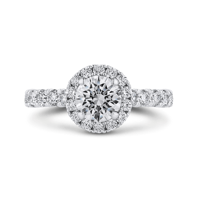 Round Halo Diamond Engament Ring In 14K White Gold (Semi Mount)