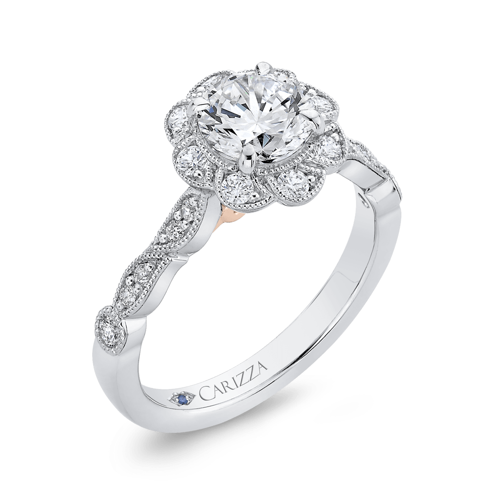 14K Two Tone Gold Round Diamond Floral Halo Engagement Ring (Semi Mount) Engagement Ring CARIZZA