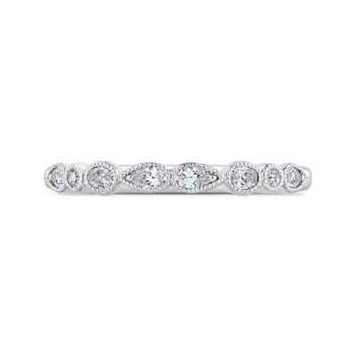 14K White Gold Pear Oval and Round Diamond Wedding Band Wedding Band CARIZZA