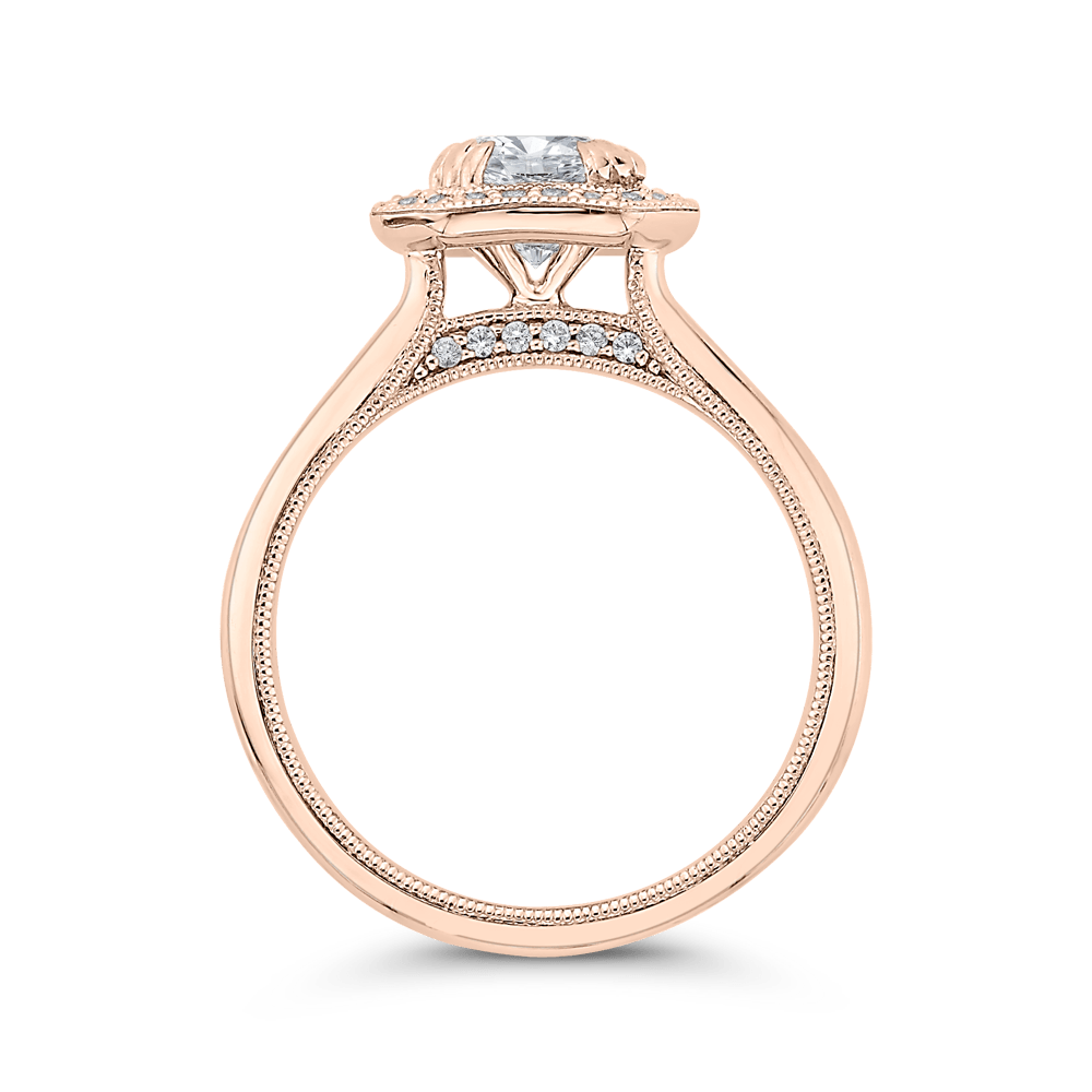 14K Rose Gold Round Diamond Halo Engagement Ring with Euro Shank (Semi Mount) Engagement Ring CARIZZA