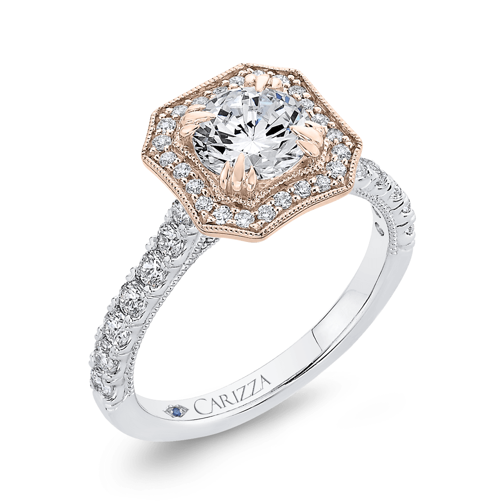 14K Two Tone Gold Round Diamond Halo Engagement Ring (Semi Mount) Engagement Ring CARIZZA