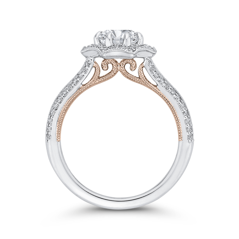 14K Two Tone Gold Round Diamond Floral Halo Engagement Ring with Split Shank (Semi Mount) Engagement Ring CARIZZA