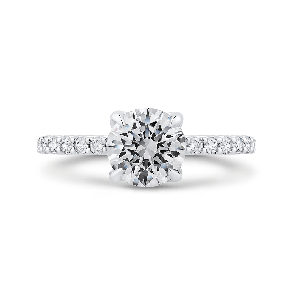 Round Diamond Engagement Ring In 14K White Gold (Semi Mount) Engagement Ring CARIZZA