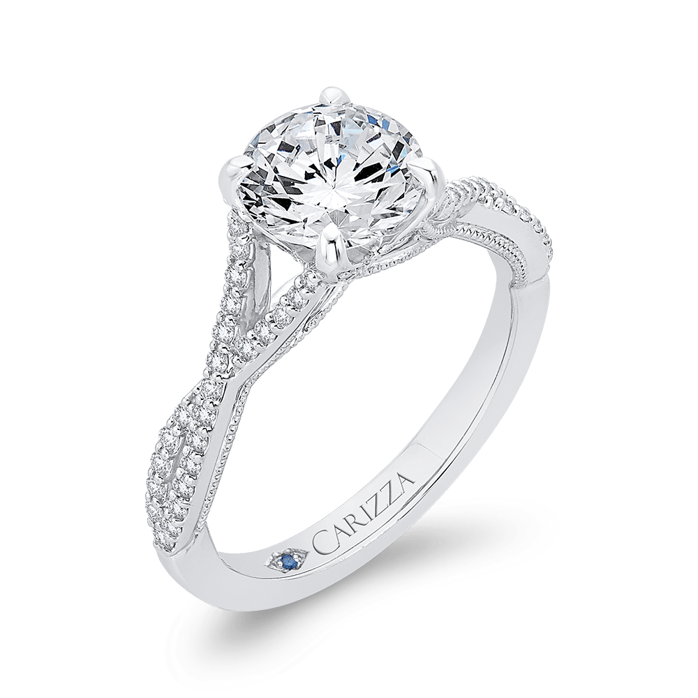 Round Diamond Engagement Ring In 14K White Gold with Split Shank (Semi Mount) Engagement Ring CARIZZA