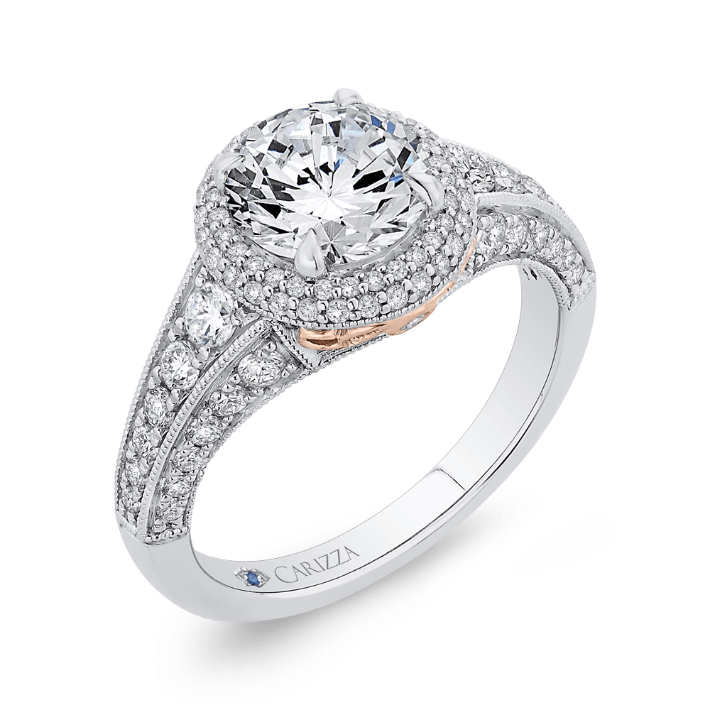 14K Two Tone Gold Round Cut Diamond Halo Engagement Ring (Semi Mount) Engagement Ring CARIZZA