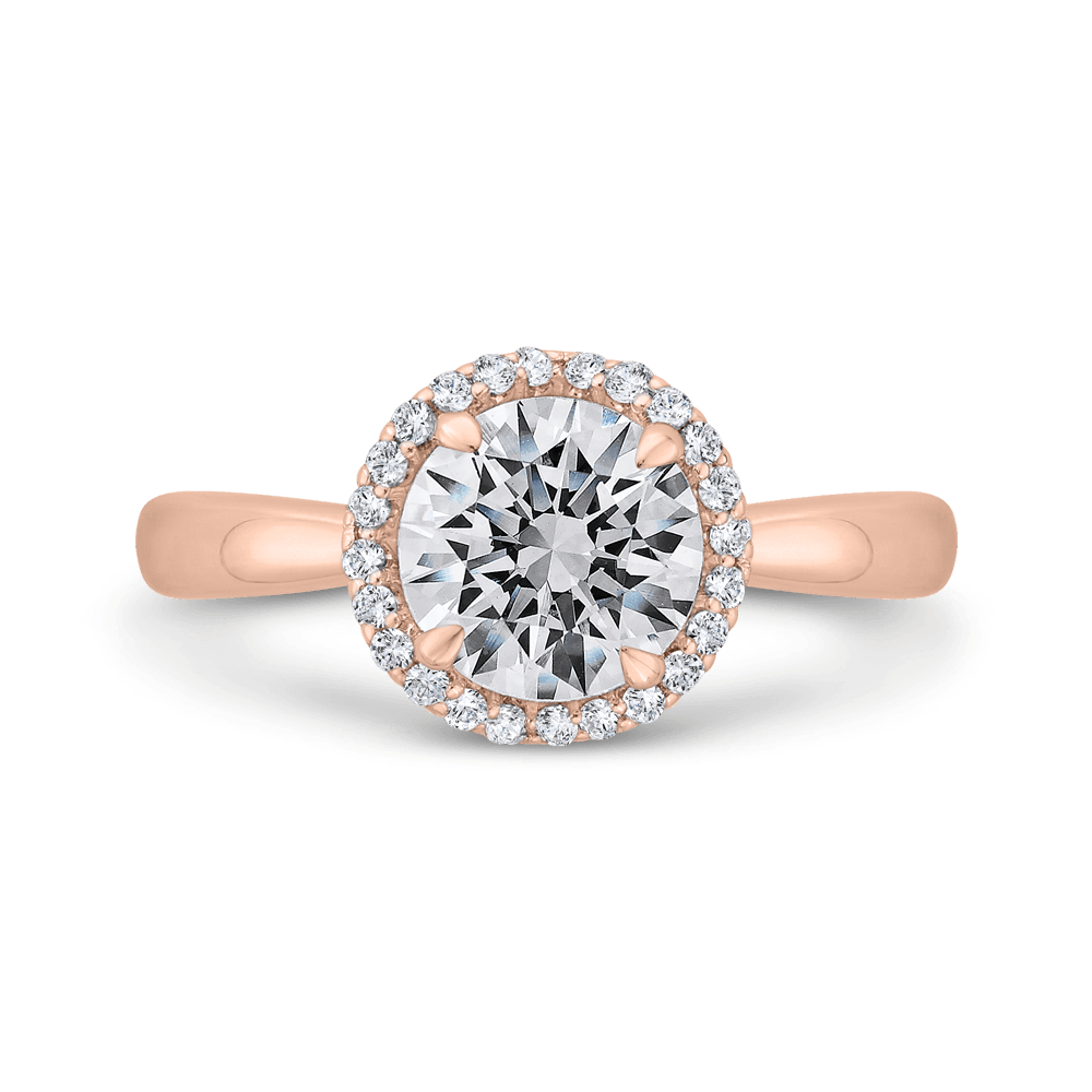 14K Rose Gold Diamond Halo Engagement Ring (Semi-Mount) Engagement Ring CARIZZA
