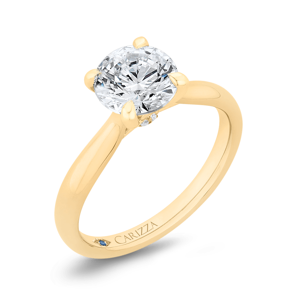 14K Yellow Gold Round Diamond Solitaire Plus Engagement Ring (Semi-Mount) Engagement Ring CARIZZA