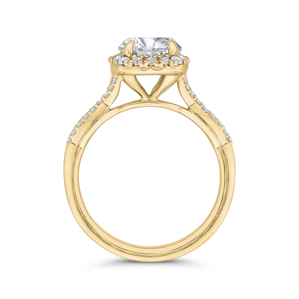 14K Yellow Gold Split Shank Round Diamond Halo Engagement Ring (Semi-Mount) Engagement Ring CARIZZA