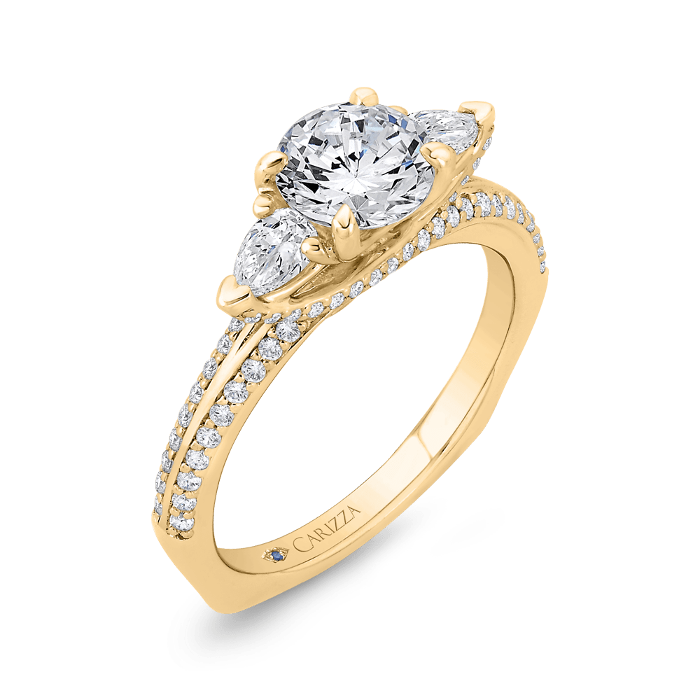 14K Yellow Gold Round Diamond Three-Stone Plus Engagement Ring with Euro Shank (Semi-Mount) Engagement Ring CARIZZA