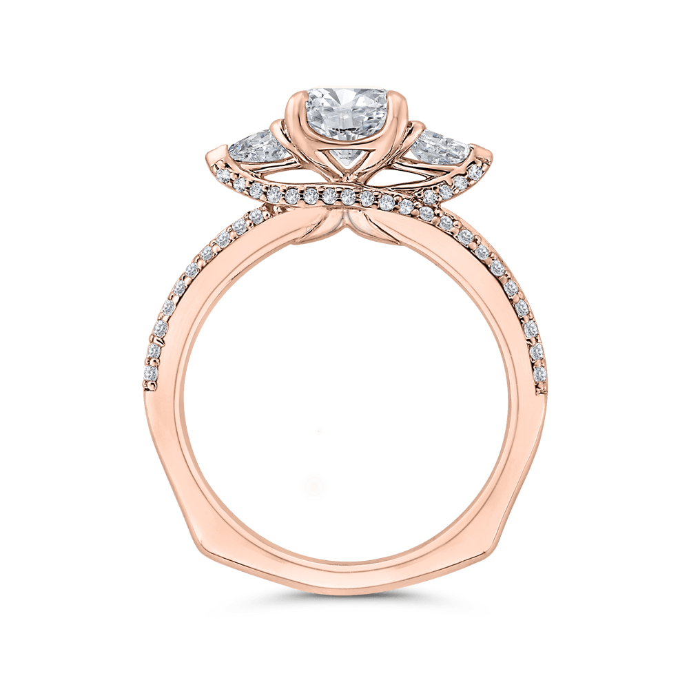 14K Rose Gold Round Diamond Three-Stone Plus Engagement Ring with Euro Shank (Semi-Mount) Engagement Ring CARIZZA