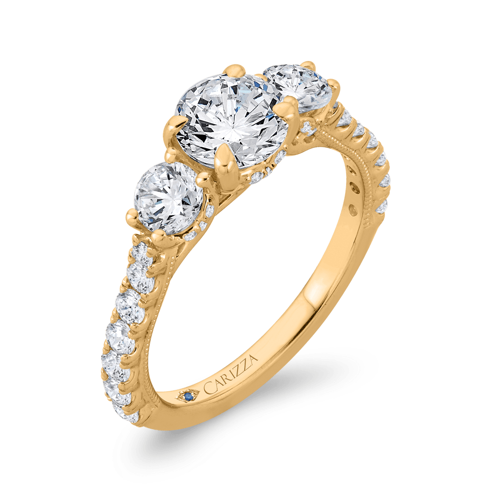 14K Yellow Gold Round Diamond Three-Stone Plus Engagement Ring with Round Shank (Semi-Mount) Engagement Ring CARIZZA