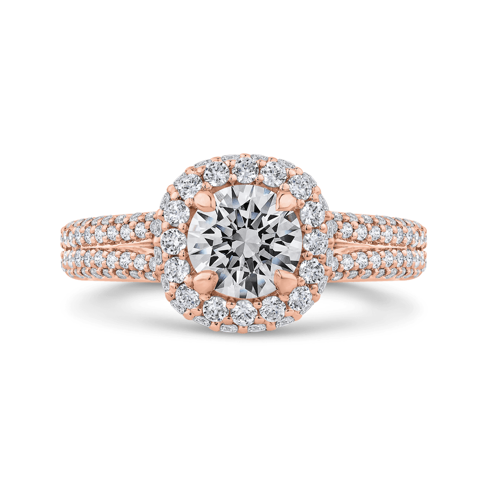 14K Rose Gold Round Diamond Double Halo Engagement Ring with Split Shank (Semi-Mount) Engagement Ring CARIZZA