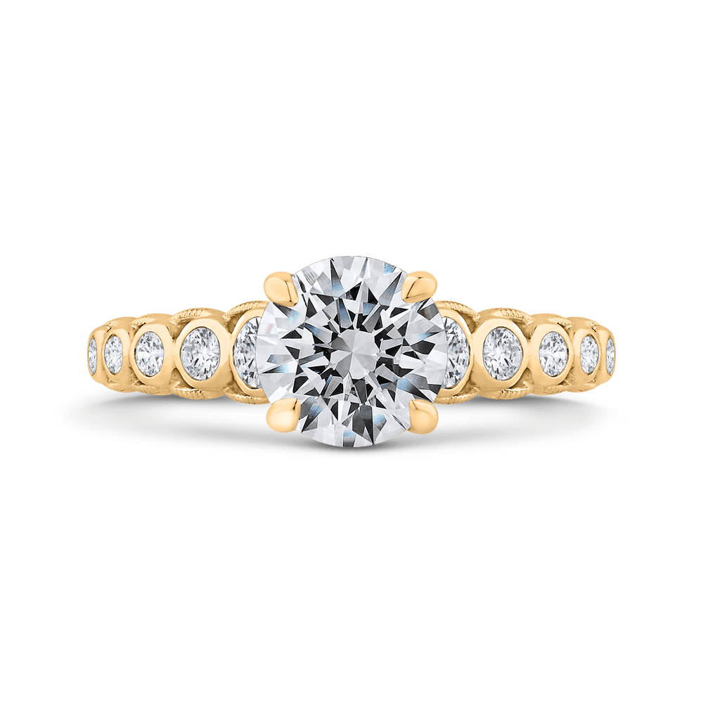 14K Yellow Gold Bezel Set Round Diamond Engagement Ring with Milgrain (Semi-Mount) Engagement Ring CARIZZA