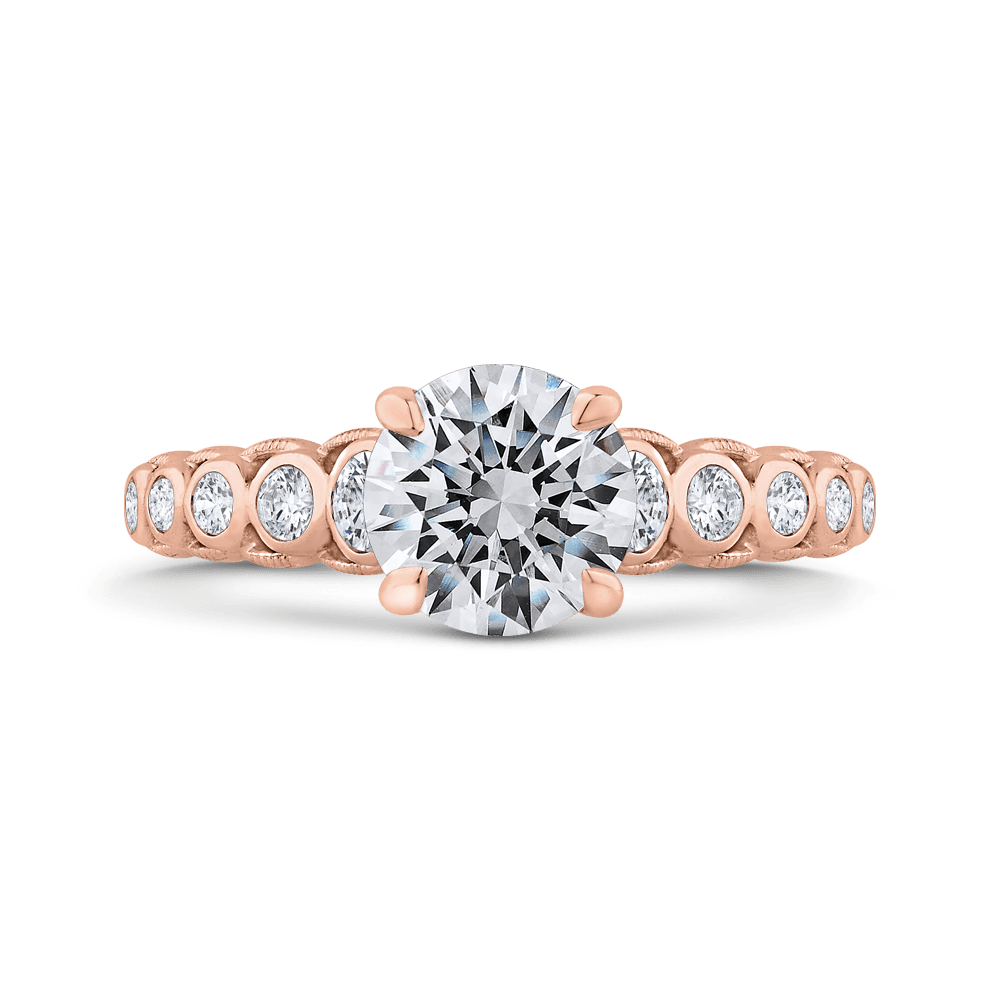 14K Rose Gold Bezel Set Round Diamond Engagement Ring with Milgrain (Semi-Mount) Engagement Ring CARIZZA