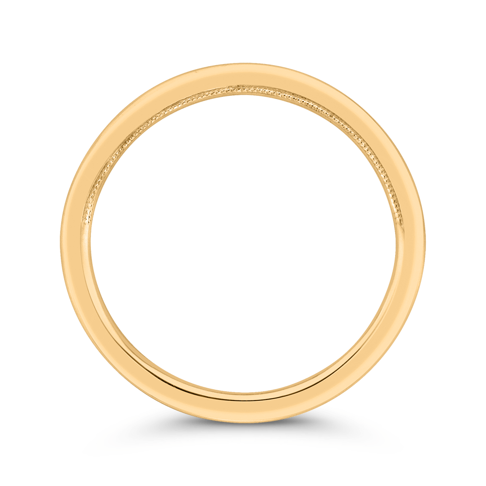 14K Yellow Gold Plain Wedding Band with Milgrain Wedding Band CARIZZA