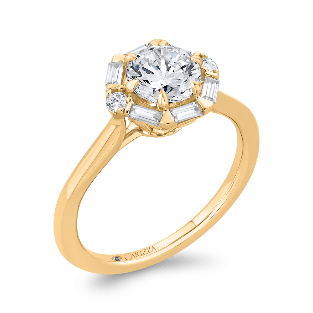 14K Yellow Gold Round Diamond Halo Engagement Ring (Semi-Mount) Engagement Ring CARIZZA