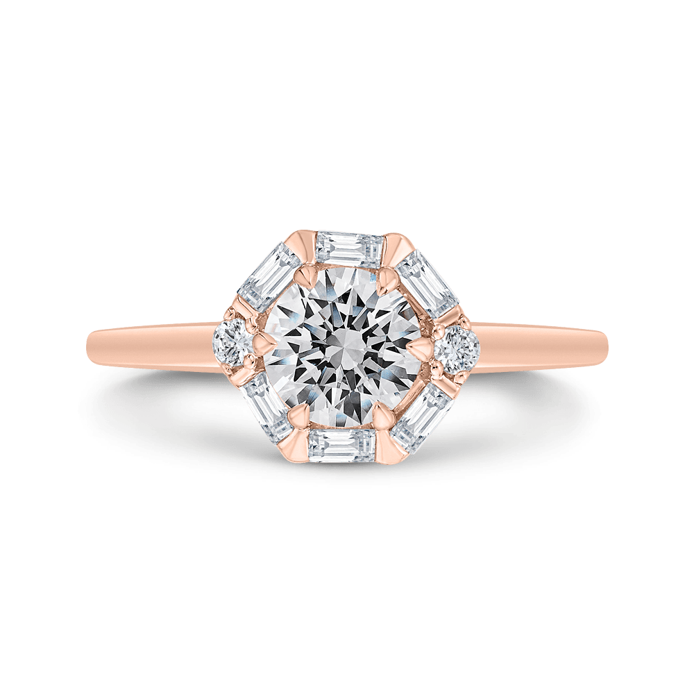 14K Rose Gold Round Diamond Halo Engagement Ring (Semi-Mount) Engagement Ring CARIZZA