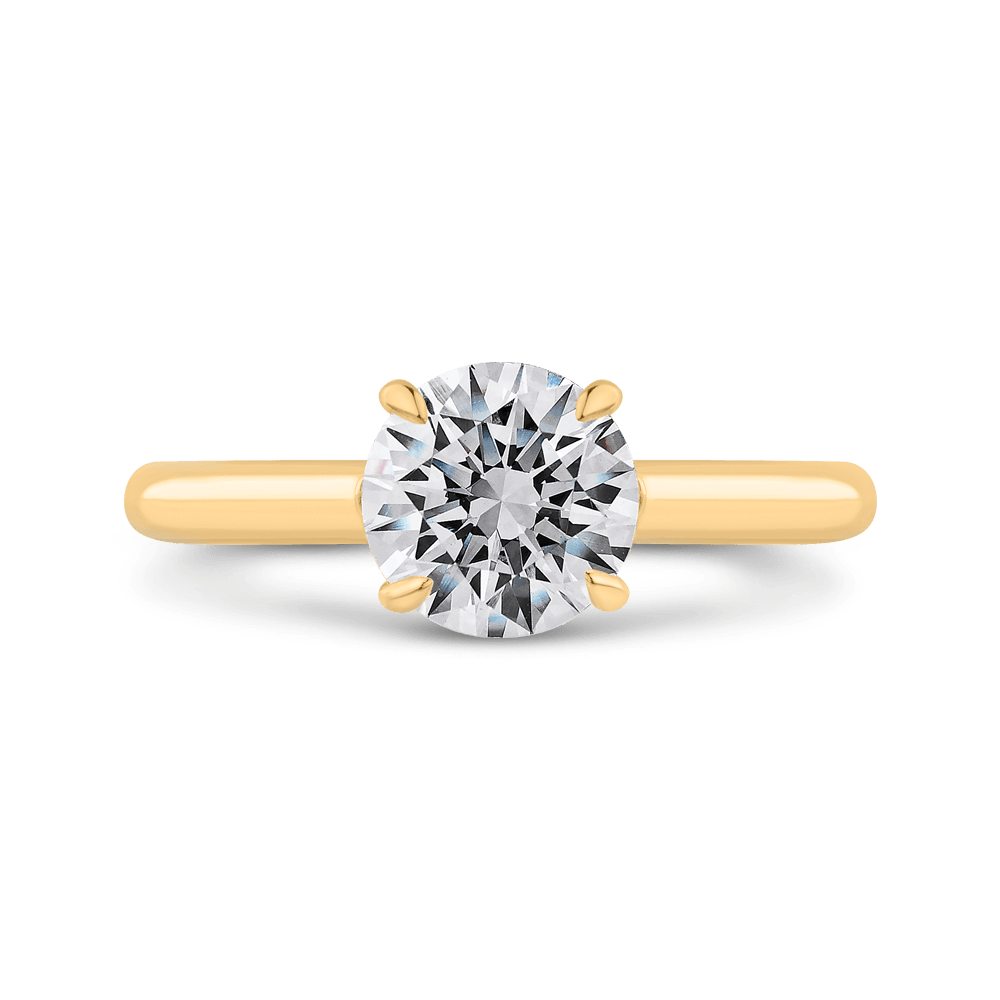 14K Yellow Gold Round Diamond Solitaire Plus Engagement Ring with Milgrain (Semi-Mount) Engagement Ring CARIZZA