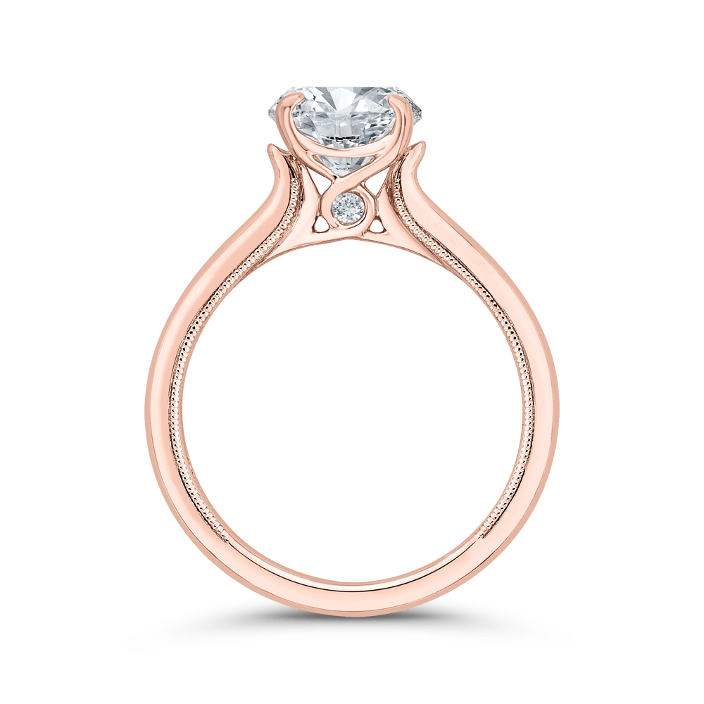 14K Rose Gold Round Diamond Solitaire Plus Engagement Ring with Milgrain (Semi-Mount) Engagement Ring CARIZZA