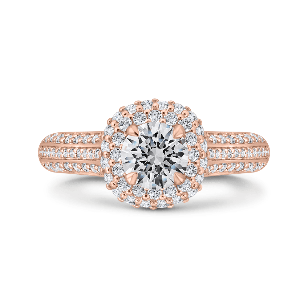 14K Rose Gold Three Row Round Diamond Double Halo Engagement Ring (Semi-Mount) Engagement Ring CARIZZA