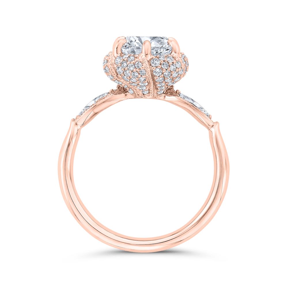 14K Rose Gold Round Diamond Engagement Ring with Milgrain (Semi-Mount) Engagement Ring CARIZZA
