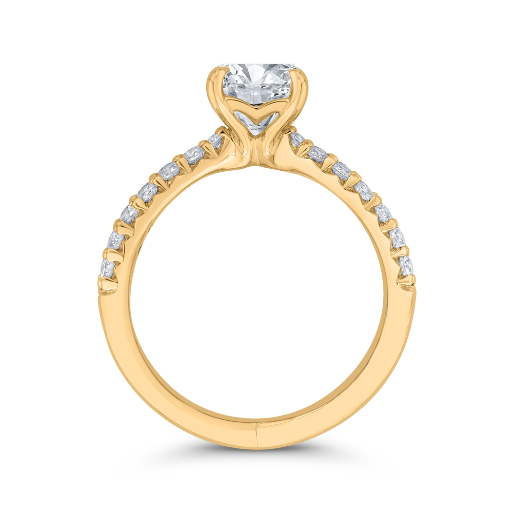 14K Yellow Gold Round Diamond Split Shank Engagement Ring (Semi-Mount) Engagement Ring CARIZZA