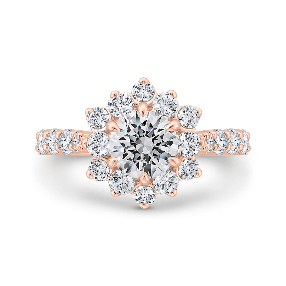 14K Rose Gold Round Diamond Floral Engagement Ring with Round Shank (Semi-Mount) Engagement Ring CARIZZA
