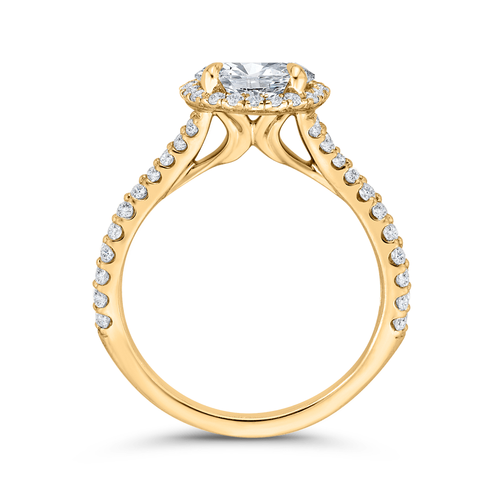 14K Yellow Gold Round Diamond Halo Engagement Ring with Split Shank (Semi-Mount) Engagement Ring CARIZZA