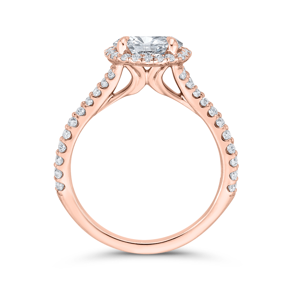 14K Rose Gold Round Diamond Halo Engagement Ring with Split Shank (Semi-Mount) Engagement Ring CARIZZA