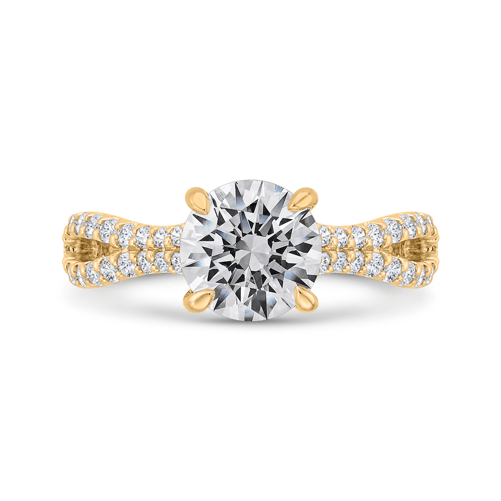 Round Cut Diamond Engagement Ring with Split Shank In 14K Yellow Gold (Semi-Mount) Engagement Ring CARIZZA