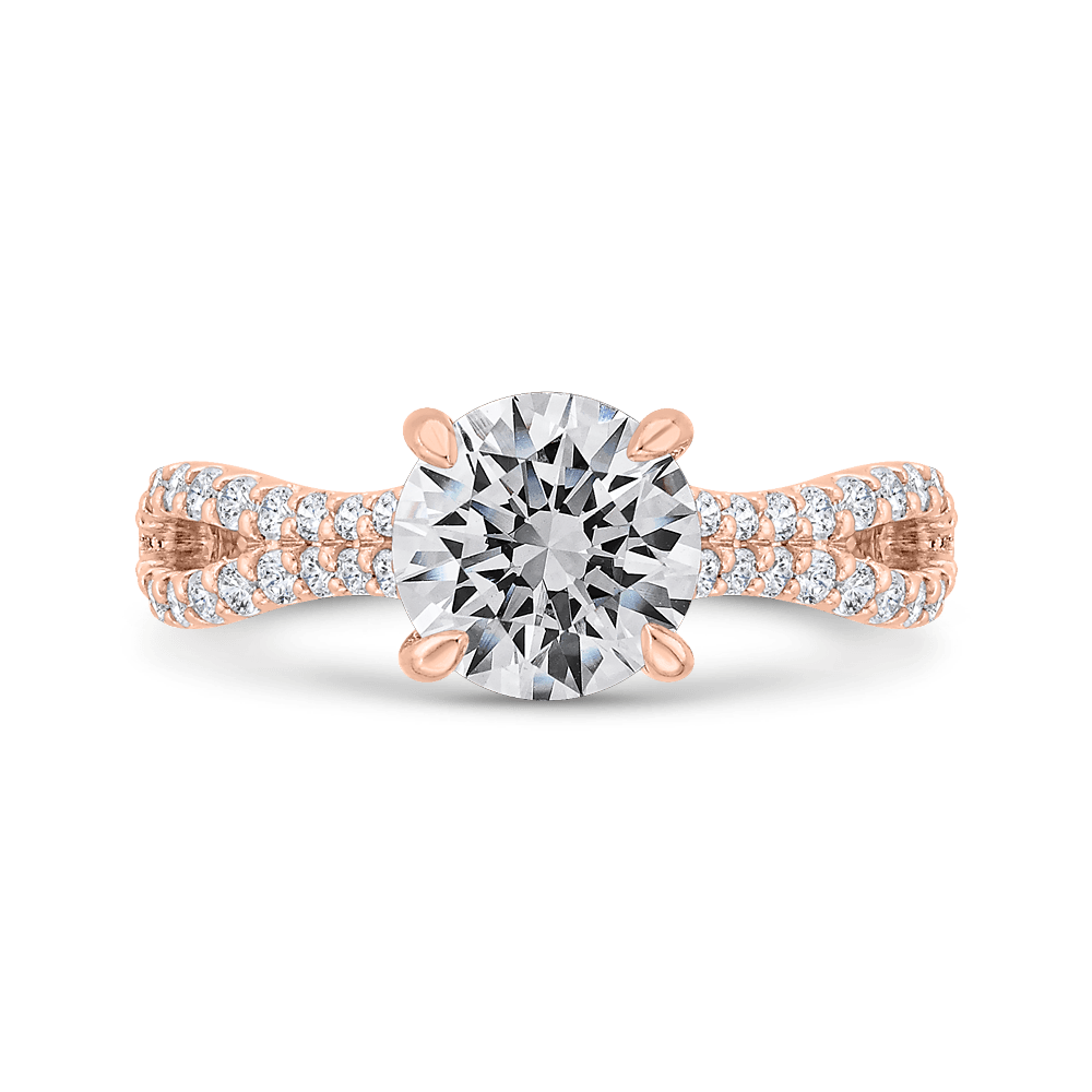 Round Cut Diamond Engagement Ring with Split Shank In 14K Rose Gold (Semi-Mount) Engagement Ring CARIZZA