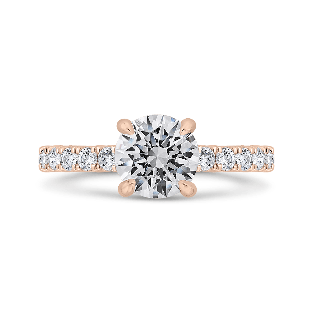 14K Rose Gold Round Diamond Solitaire Plus Engagement Ring (Semi-Mount) Engagement Ring CARIZZA