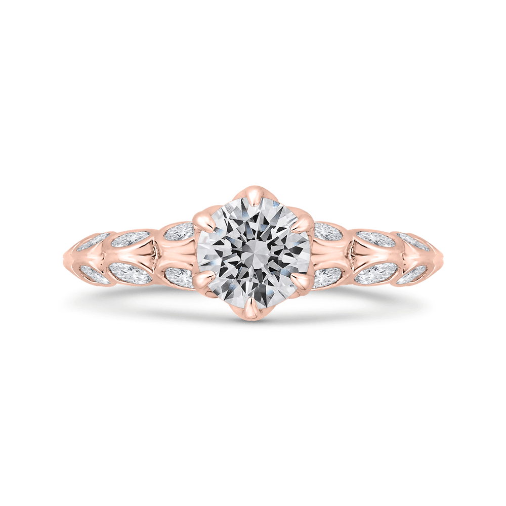 14K Rose Gold Bezel Set Double Row Round Diamond Engagement Ring (Semi-Mount) Engagement Ring CARIZZA