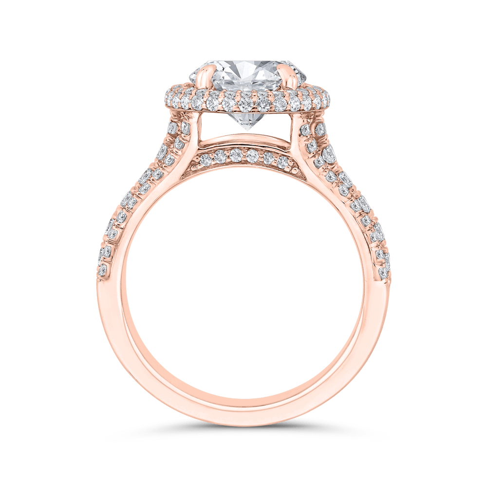 14K Rose Gold Round Diamond Double Halo Engagement Ring (Semi-Mount) Engagement Ring CARIZZA