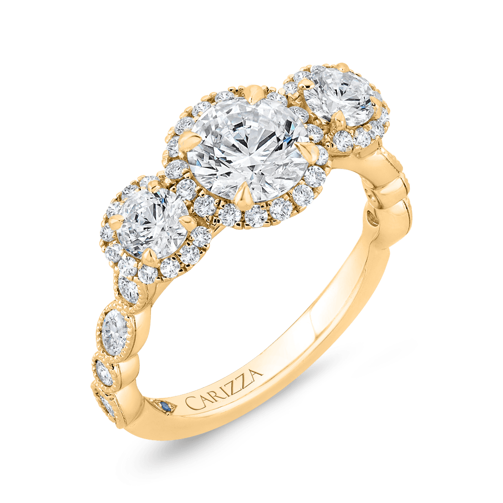 14K Yellow Gold Round Diamond Three Halo Engagement Ring with Round Shank (Semi-Mount) Engagement Ring CARIZZA