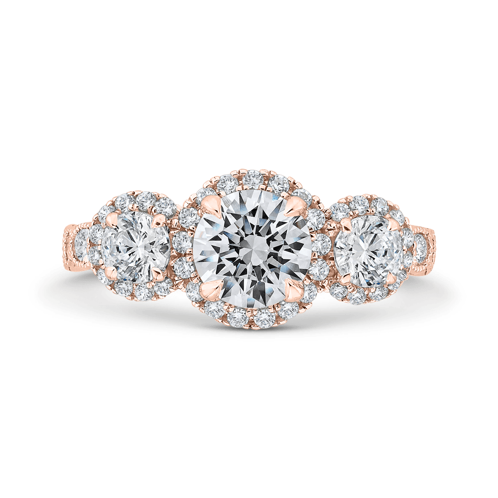 14K Rose Gold Round Diamond Three Halo Engagement Ring with Round Shank (Semi-Mount) Engagement Ring CARIZZA
