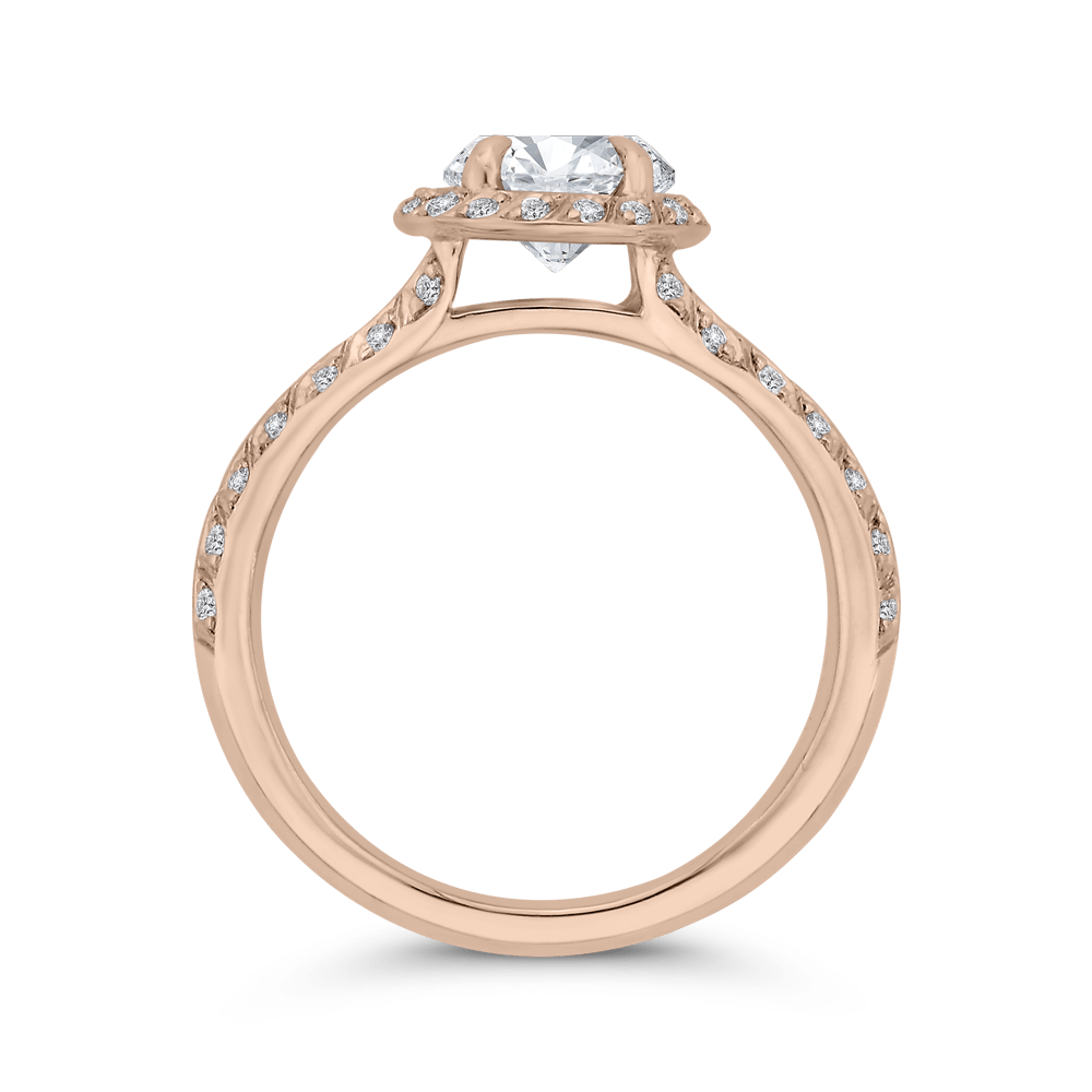 14K Rose Gold Round Diamond Double Row Engagement Ring with Split Shank (Semi-Mount) Engagement Ring CARIZZA