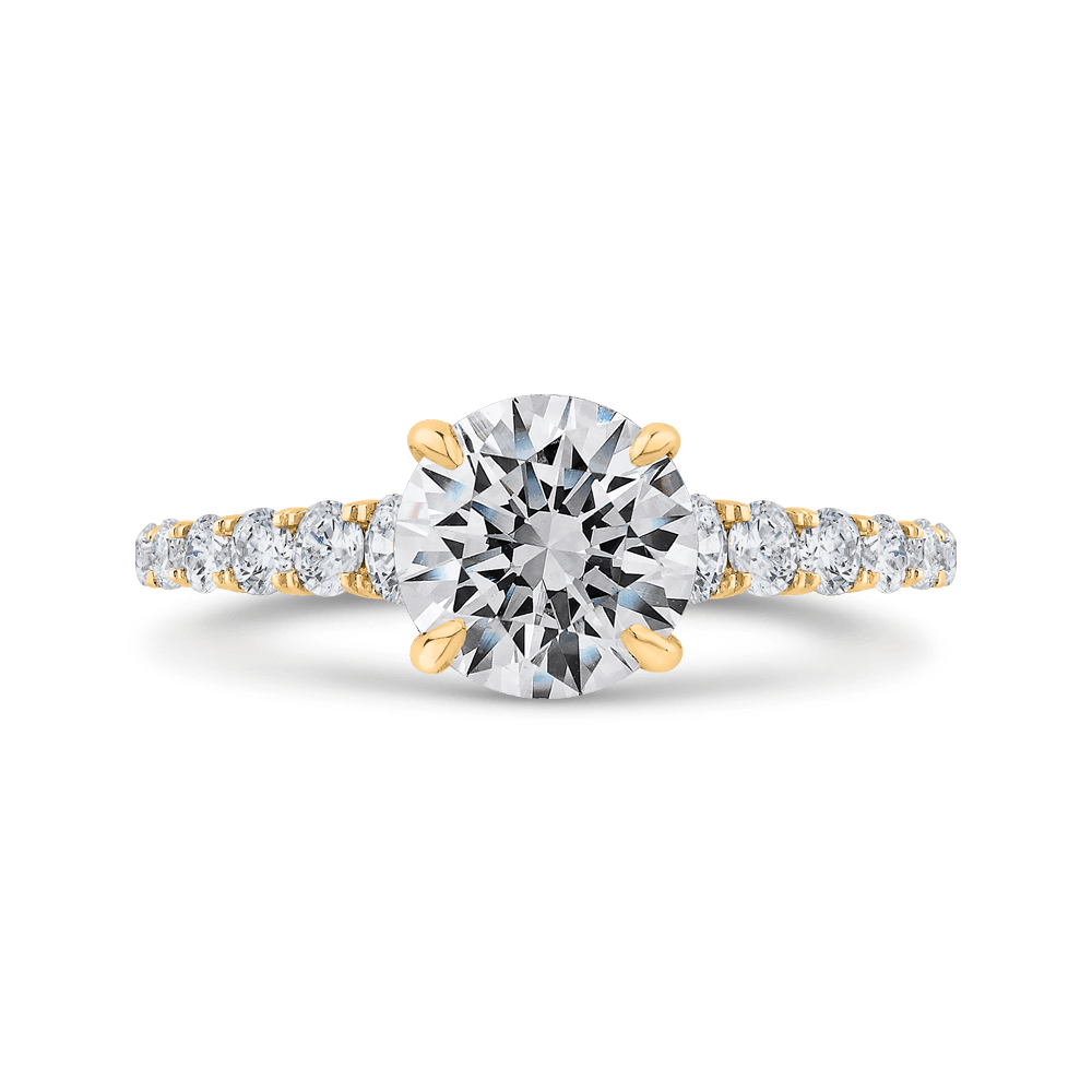 14K Yellow Gold Round Diamond Engagement Ring with Milgrain (Semi-Mount) Engagement Ring CARIZZA