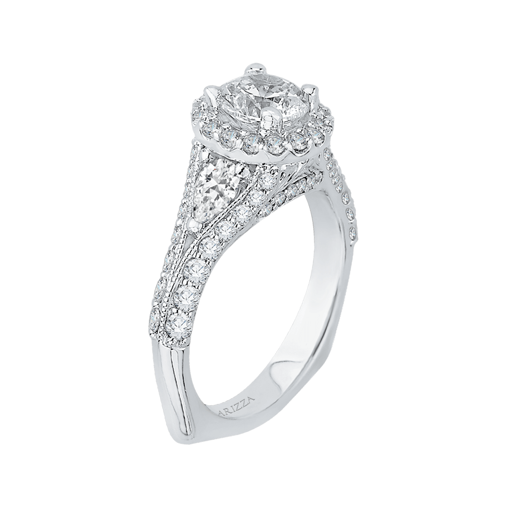Pear Diamond Halo Engagement Ring In 14K White Gold with Split Shank (Semi Mount) Engagement Ring CARIZZA