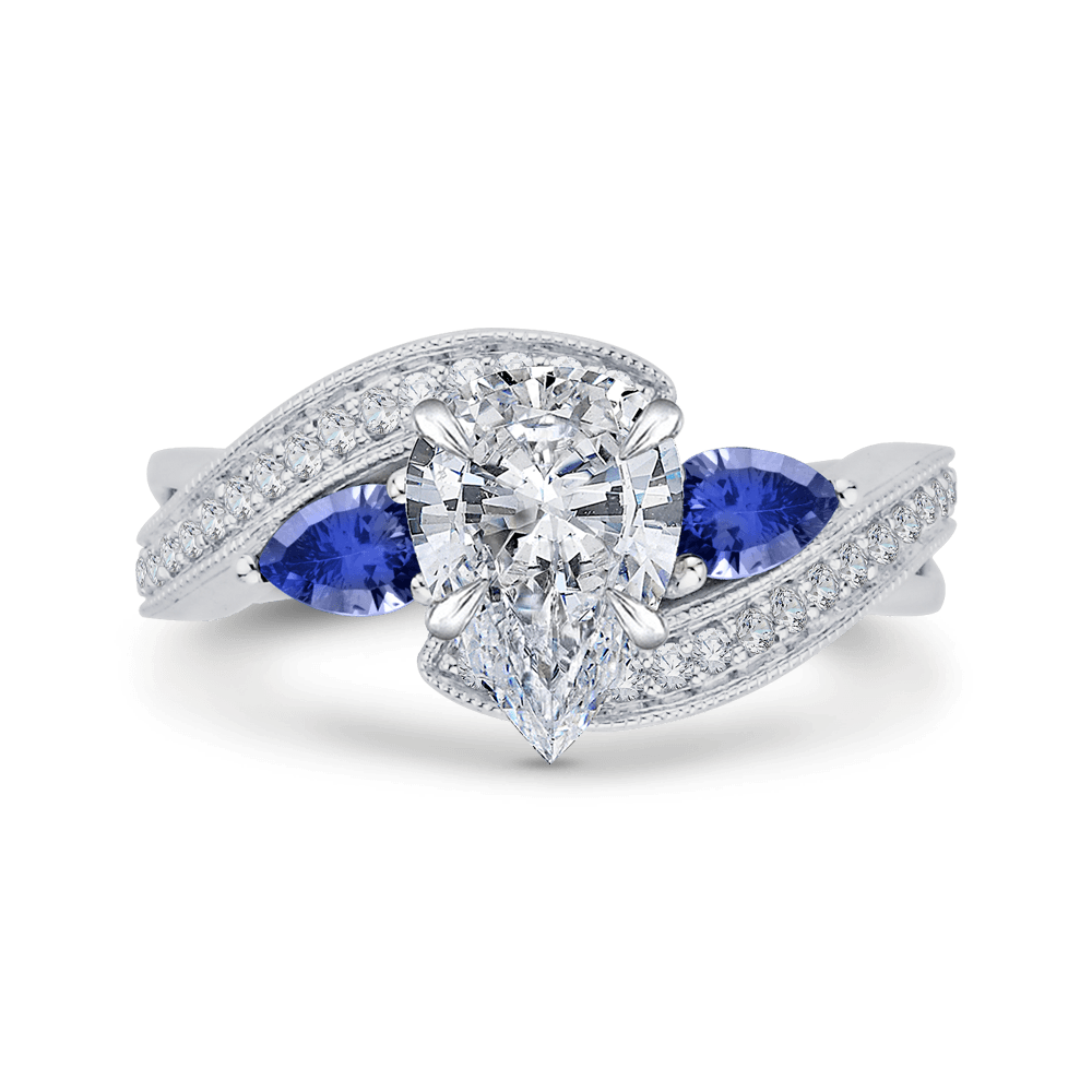 14K White Gold Pear Diamond Engagement Ring with Sapphire (Semi Mount) Engagement Ring CARIZZA