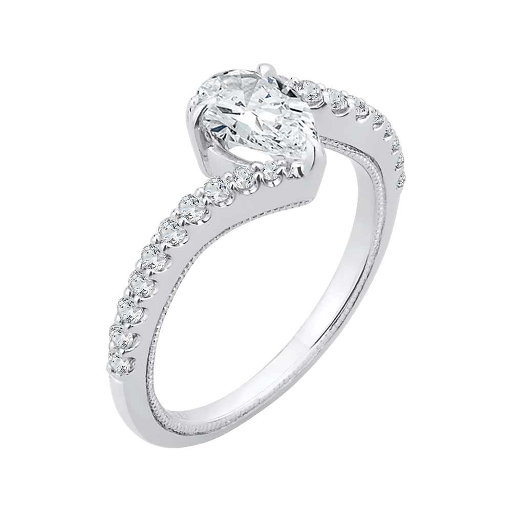 14K White Gold Pear Diamond Promise Engagement Ring (Semi Mount) Engagement Ring CARIZZA