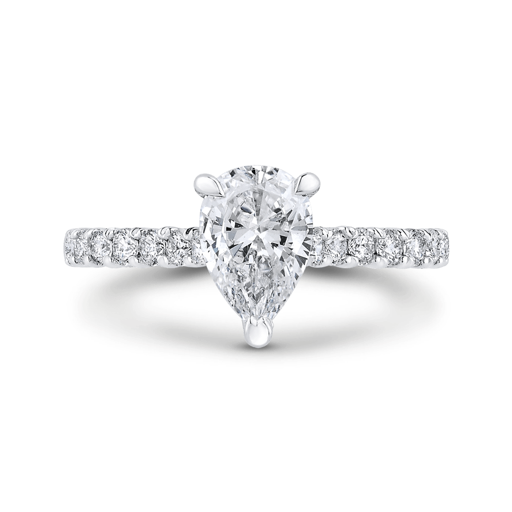 14K White Gold Pear Diamond Engagement Ring (Semi Mount) Engagement Ring CARIZZA