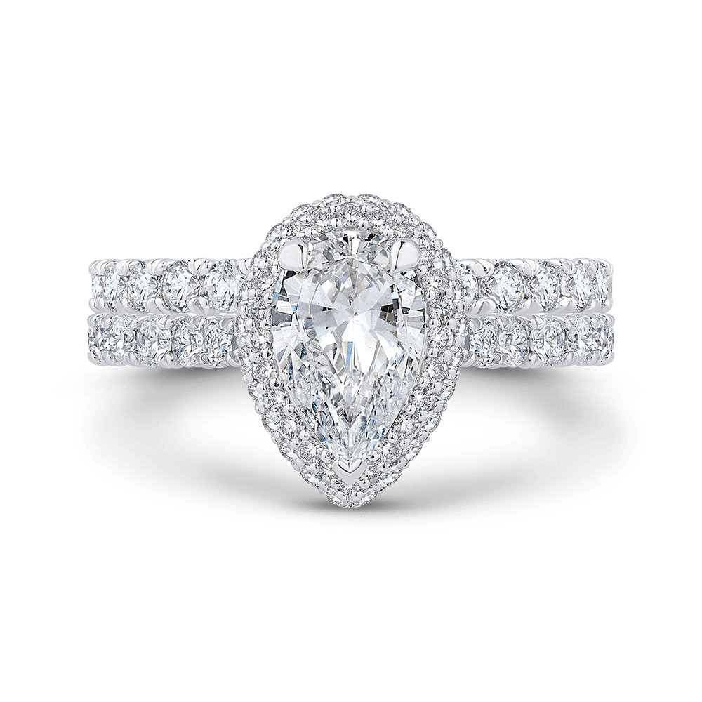 14K White Gold Pear Diamond Halo Engagement Ring (Semi Mount) Engagement Ring CARIZZA