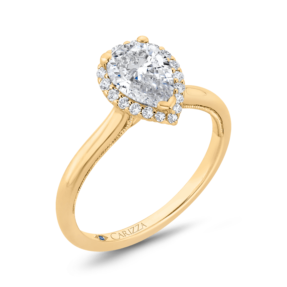 14K Yellow Gold Pear Diamond Halo Engagement Ring (Semi-Mount) Engagement Ring CARIZZA