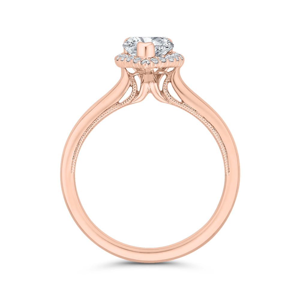 14K Rose Gold Pear Diamond Halo Engagement Ring (Semi-Mount) Engagement Ring CARIZZA
