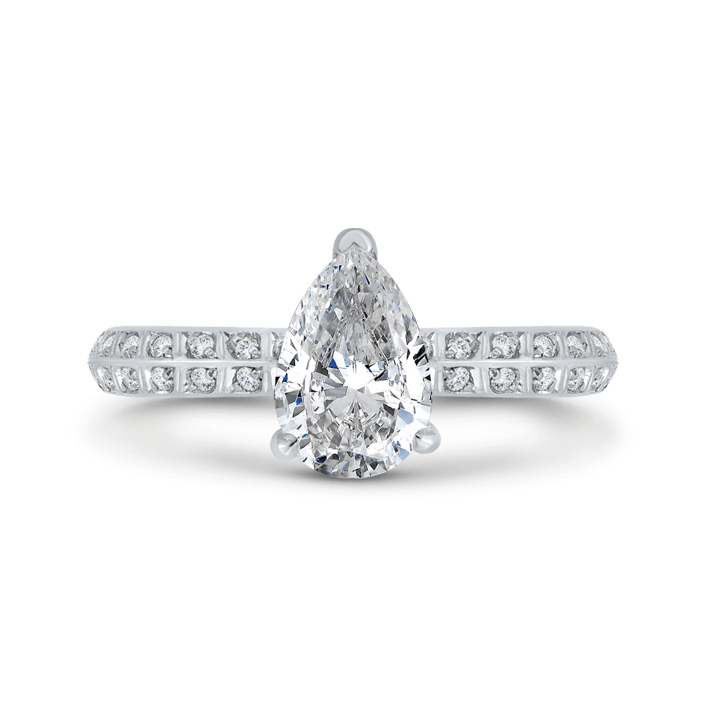 14K White Gold Pear Diamond Double Row Engagement Ring with Round Shank (Semi-Mount) Engagement Ring CARIZZA