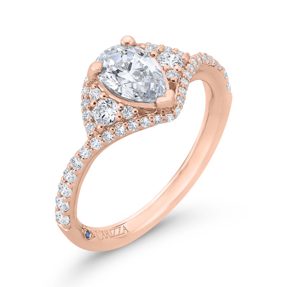 14K Rose Gold Pear Diamond Engagement Ring (Semi-Mount) Engagement Ring CARIZZA