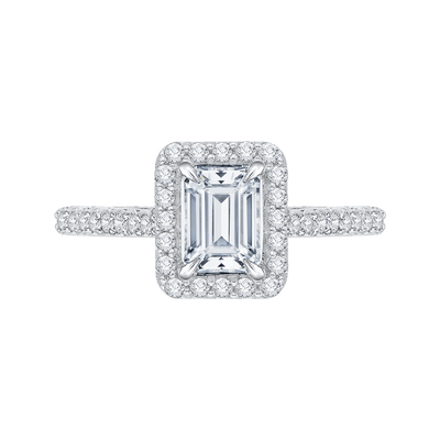 Emerald Cut Diamond Halo Engagement Ring In 14K White Gold (Semi Mount) Engagement Ring CARIZZA