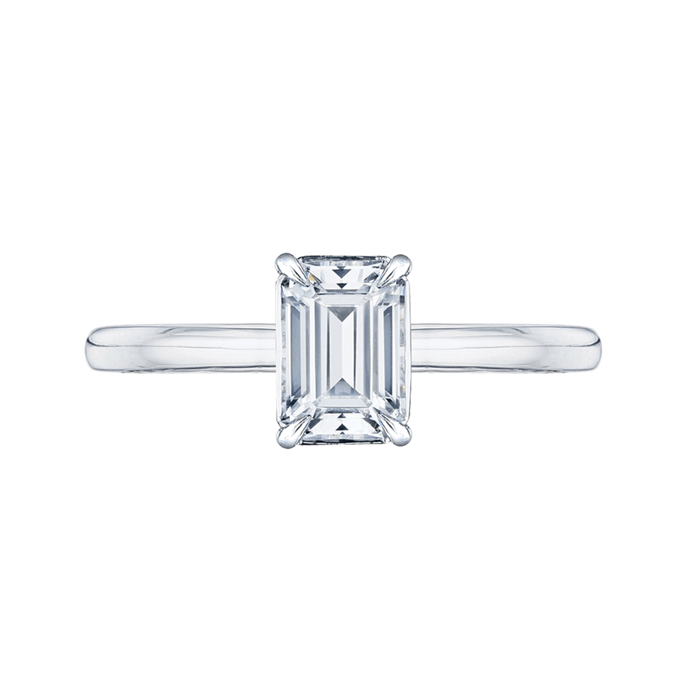 14K White Gold Emerald Cut Diamond Solitaire Engagement Ring (Semi Mount) Engagement Ring CARIZZA